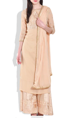 Peach Polygeorgette Suit Set Limeroad Rs. 3779.00