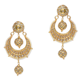 Gold Metallic Embellished Beaded Earrings Limeroad Rs. 4399.00