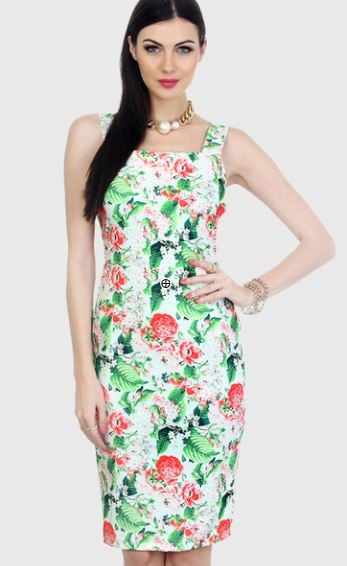 Faballey Floral Vibes Scuba Bodycon Midi Dress Jabong Rs. 1690