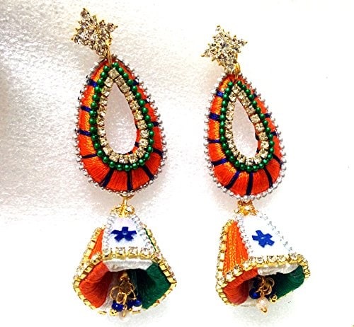 Celebrate Independence Day in Style this Year - Indian Flag Tri-colour Designer Silk Thread Earrings Amazon Deal