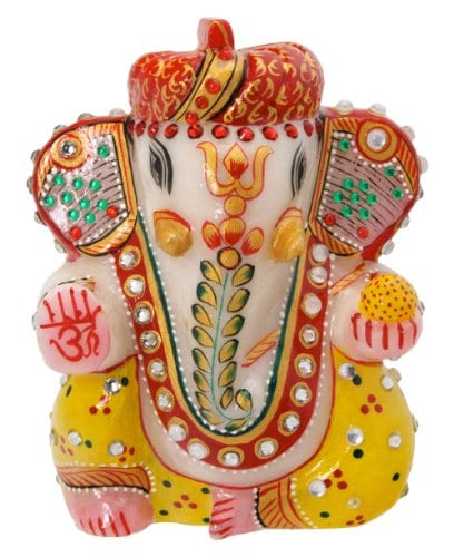 Switch to Eco Friendly Ganesh Idols for This Ganesh Chaturthi 2017 - Traditional style Ganesha Idol with Pagadi and Yellow Dhoti Amazon Deal