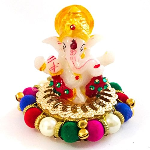 Switch to Eco Friendly Ganesh Idols for This Ganesh Chaturthi 2017 - Lord Ganesha Idol on Ornamental Base of Crystals and Multicolor Pearls Amazon Deal