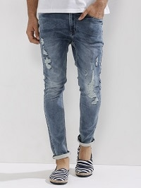 Ripped Jeans for Men, Style the Ripped Distressed Denims the Perfect Way! - Distressed Ripped Jeans for Men at 60% OFF Koovs Deal
