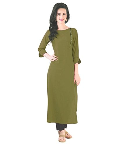 How To Ace Your Look For Your Child's School Admission, It's School Admission Time again And We Have The Best Styling Tips for you! - Khankan Women's Crepe Olive Kurta Amazon Deal