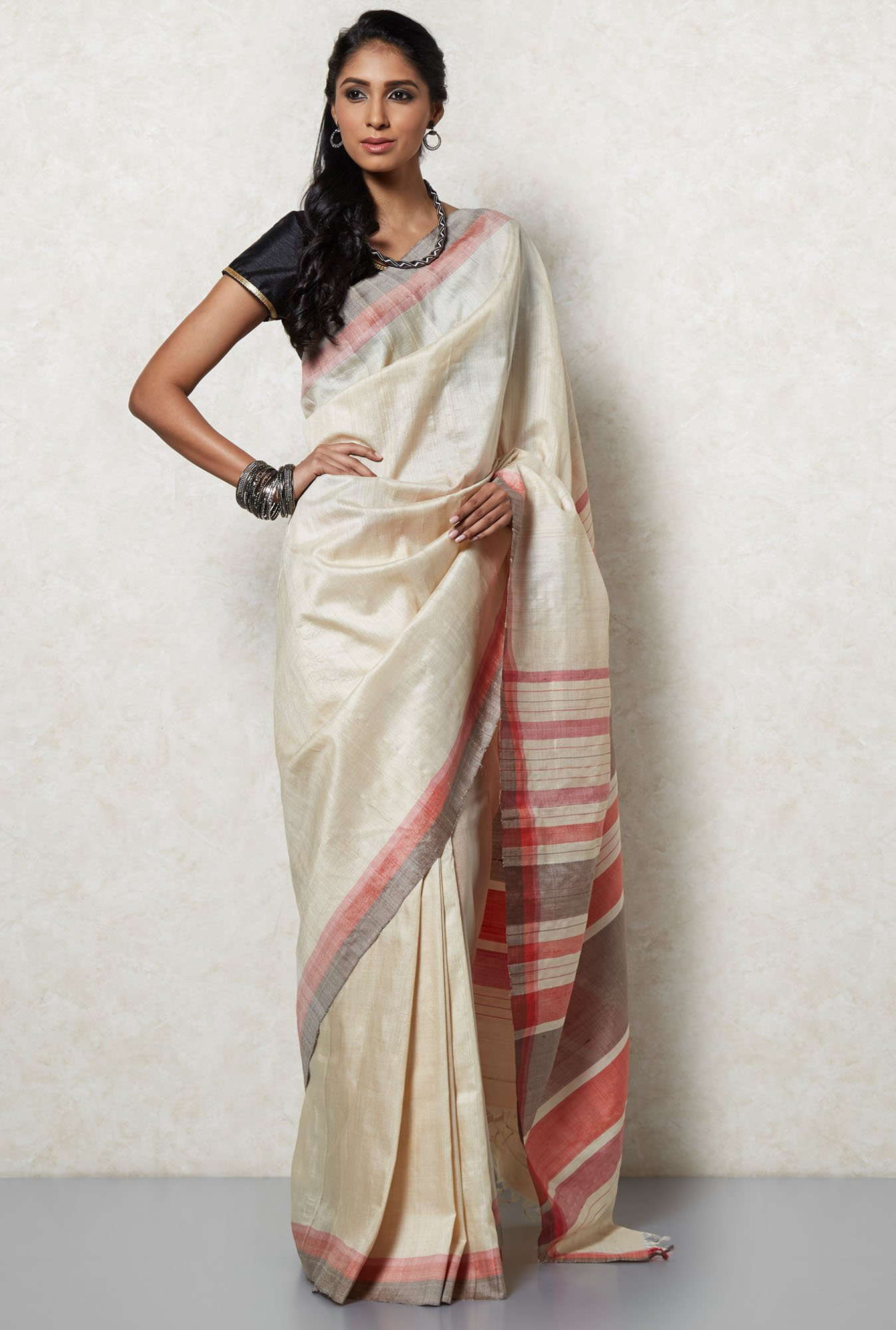 How To Ace Your Look For Your Child's School Admission, It's School Admission Time again And We Have The Best Styling Tips for you! - Okhai Beige Tussar Silk Saree TATA CLiQ Deal