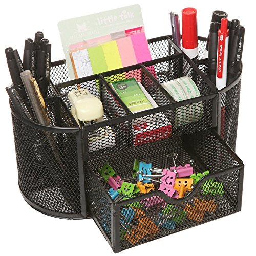 DIY Gifting Ideas for Teachers' Day, Gift Ideas for Students of All Age Groups. Happy Teachers' Day! - Callas Metal Mesh Desk Organizer, Black Plus Free 1 set of Sticky Notes Amazon Deal