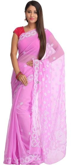 10 Types of Best Traditional Sarees, Adorn Your Wardrobe This Diwali 2017 - Up to 50% Off on Chikan Sarees Amazon Deal