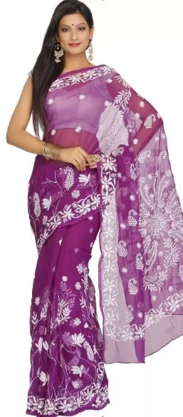 10 Types of Best Traditional Sarees, Adorn Your Wardrobe This Diwali 2017 - Up to 70% Off on Chikan Sarees Flipkart Deal