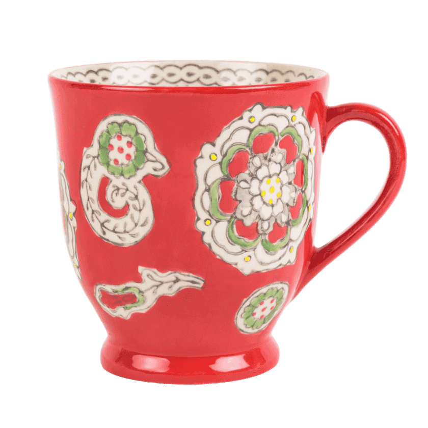 Paisley Swirl Mug - Red Chumbak deals