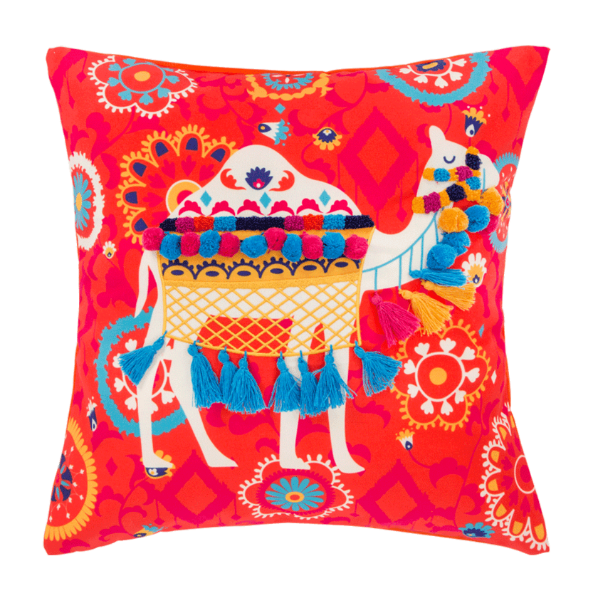 "Regal Camel Tassel 16"" Cushion Cover Chumbak deals"