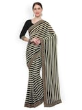 Lenora Black Striped Poly Georgette Saree Myntra Rs. 2939.00