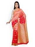 Varkala Silk Sarees Red & Peach-Coloured Banarasi Art Silk Traditional Saree Myntra Rs. 3025.00