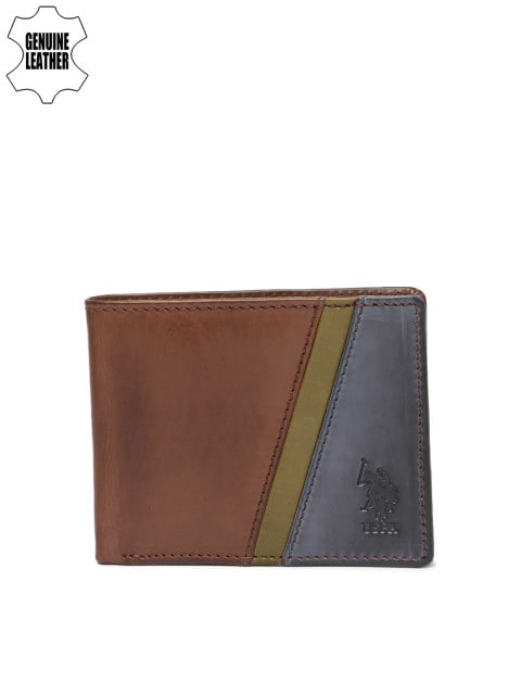 c15541d858c7 Best Wallet for Men in India - U.S. Polo Assn. Men Brown   Blue  Colourblocked