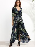 Calico Print Plunge Neck Button Front Maxi Dress Shein Rs. 1695.00