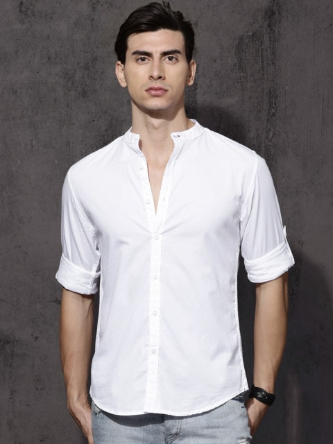 db546608655 Best Shirts for Men in India - Roadster Men White Regular Fit Solid Casual  Shirt Myntra