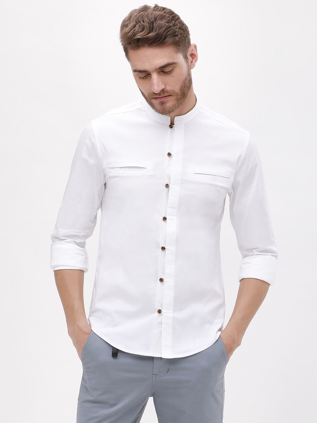 5f2b973a Best Shirts for Men in India - KOOVS Raised Collar Muscle Fit Shirt Koovs  Deal