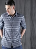 WROGN Men Blue Smart Relaxed Fit Striped Casual Shirt Myntra Rs. 1199.00